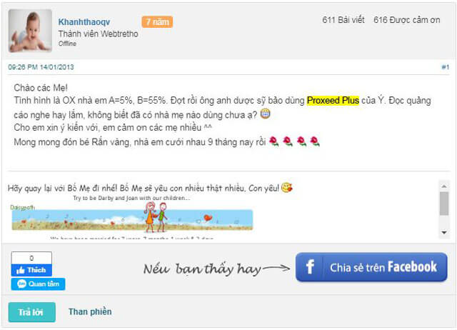 Review Proxeed Plus trên diễn đàn webtretho