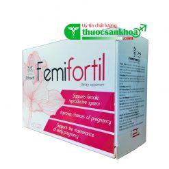 Femifortil cung cấp các dưỡng chất thiết yếu cho phụ nữ chuẩn bị mang thai, điều hòa kinh nguyệt, tăng chất lượng trứng, tăng khả năng thụ thai, nguồn gốc Ba Lan, hộp 60 viên