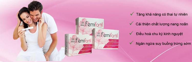 Thuốc Femifortil hỗ trợ mang hỗ trợ mang thai tự nhiên, tăng chất lượng trứng (noãn), điều hòa kinh nguyệt, ngăn ngừa suy buồng trứng sớm.