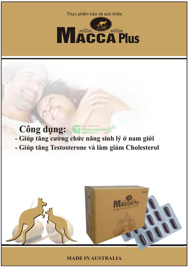 Thuốc Macca Plus với thành phần chính là maca và thịt kangaroo giúp tăng cường sinh lý nam an toàn, bền vững, hiệu quả