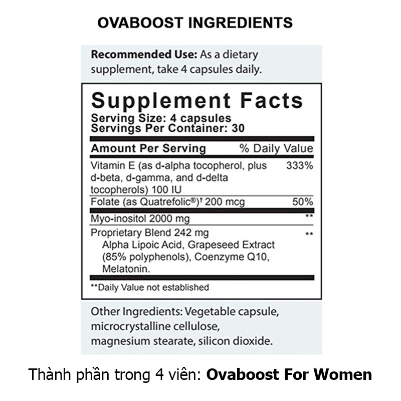 Thành phần Ovaboost For Women