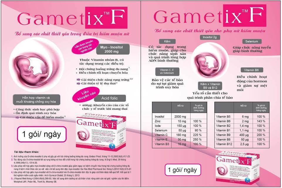 Gametix F bổ sung dưỡng chất cho phụ nữ hiếm muộn, tăng tỷ lệ mang thai tự nhiên.